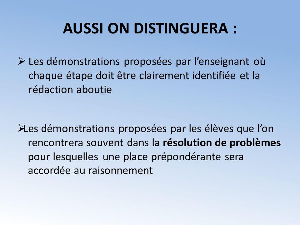AUSSI ON DISTINGUERA : Les démonstrations proposées par lenseignant où chaque étape doit être clairement identifiée et la rédaction aboutie Les démons