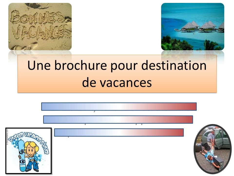 Une brochure pour destination de vacances Maintenant, vous allez étudier une borchure pour développer lintérêt du public sur une destination.