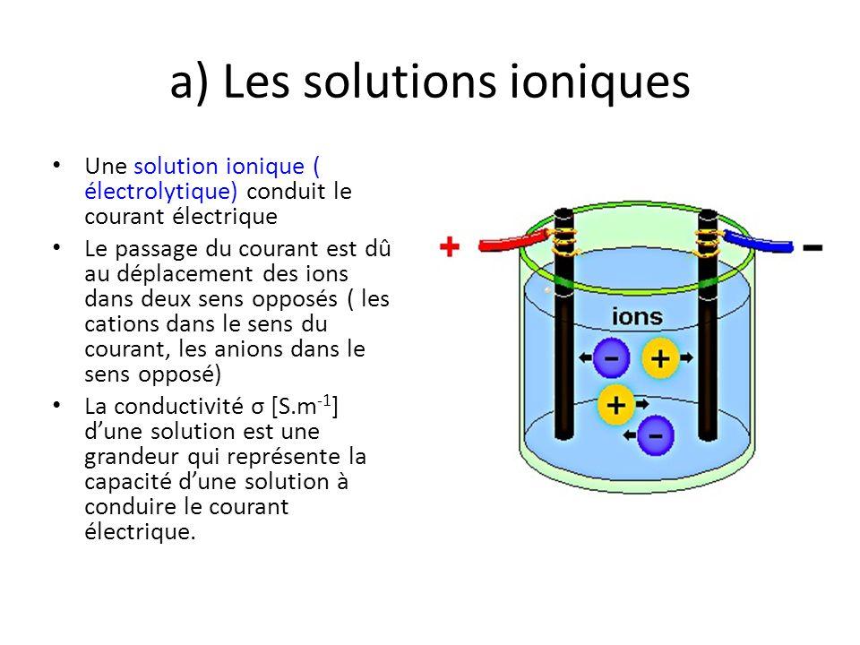a) Les solutions ioniques Une solution ionique ( électrolytique) conduit le courant électrique Le passage du courant est dû au déplacement des ions da