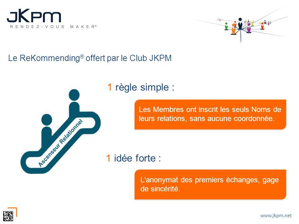 www.jkpm.net Le ReKommending ® offert par le Club JKPM 1 règle simple : 1 idée forte : Les Membres ont inscrit les seuls Noms de leurs relations, sans