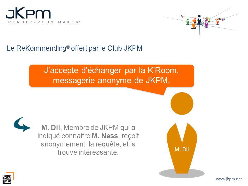 www.jkpm.net Le ReKommending ® offert par le Club JKPM Jaccepte déchanger par la KRoom, messagerie anonyme de JKPM. M. Dil, Membre de JKPM qui a indiq