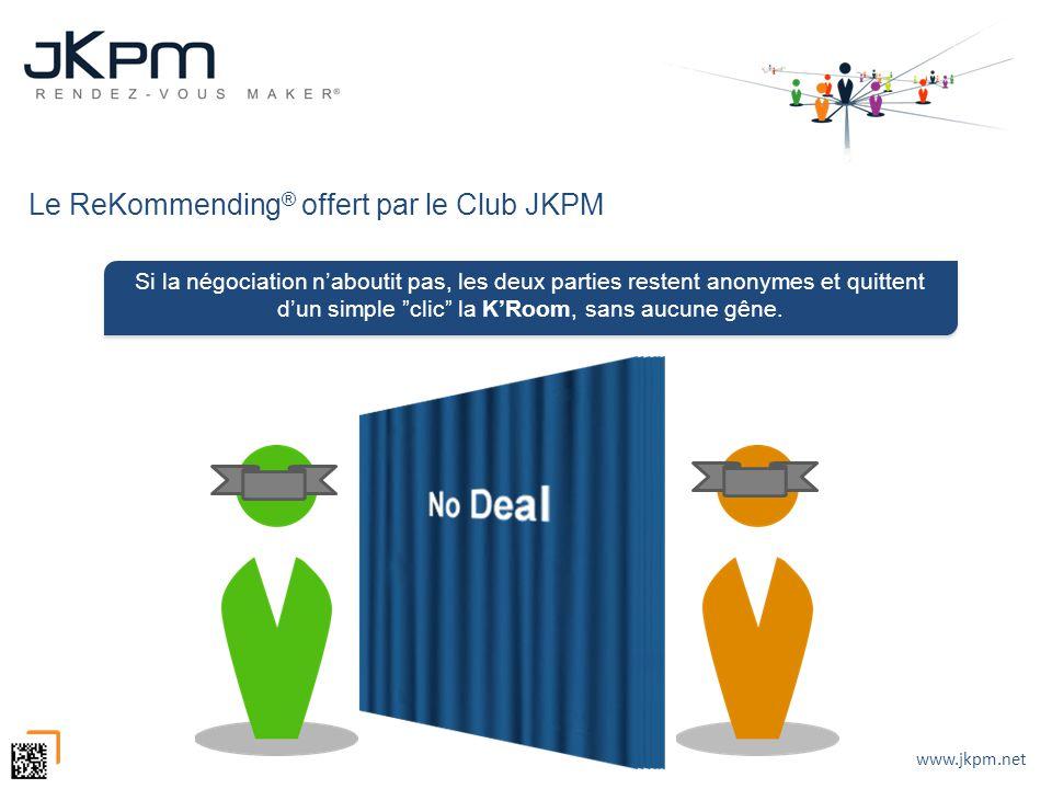 www.jkpm.net Le ReKommending ® offert par le Club JKPM Si la négociation naboutit pas, les deux parties restent anonymes et quittent dun simple clic l