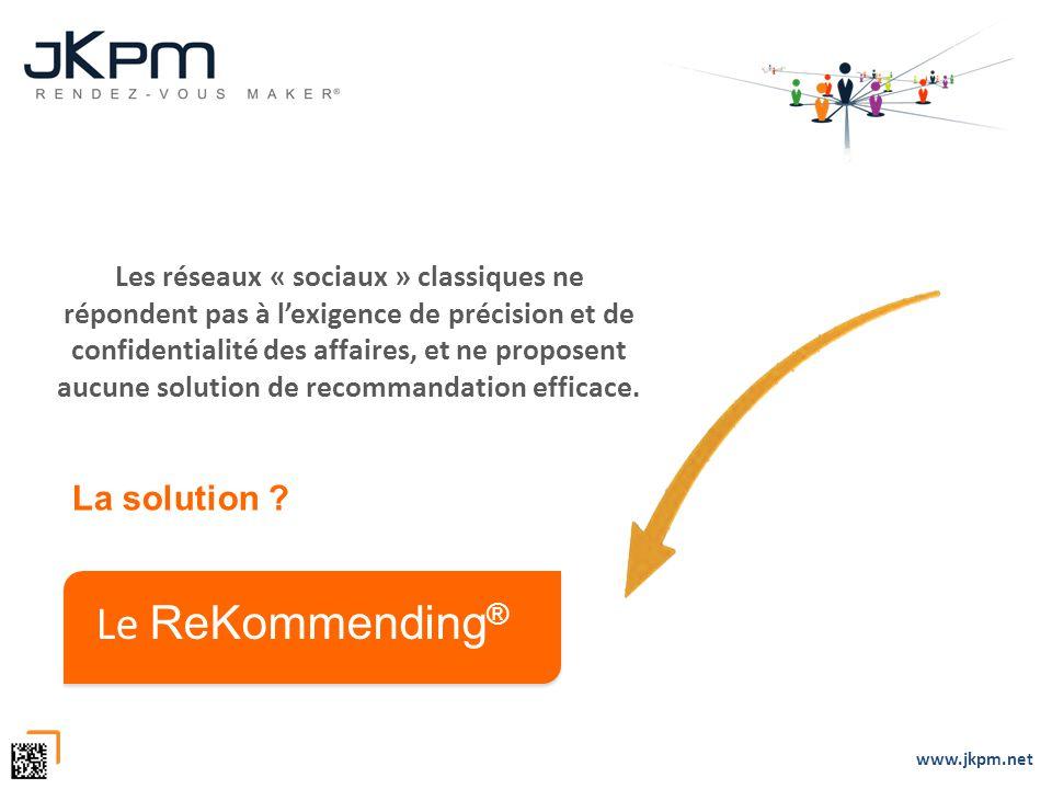 www.jkpm.net Les réseaux « sociaux » classiques ne répondent pas à lexigence de précision et de confidentialité des affaires, et ne proposent aucune s