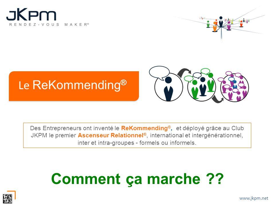 www.jkpm.net Le ReKommending ® Comment ça marche ?? Des Entrepreneurs ont inventé le ReKommending ®, et déployé grâce au Club JKPM le premier Ascenseu