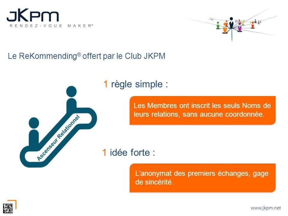 www.jkpm.net Le ReKommending ® offert par le Club JKPM 1 règle simple : Les Membres ont inscrit les seuls Noms de leurs relations, sans aucune coordon