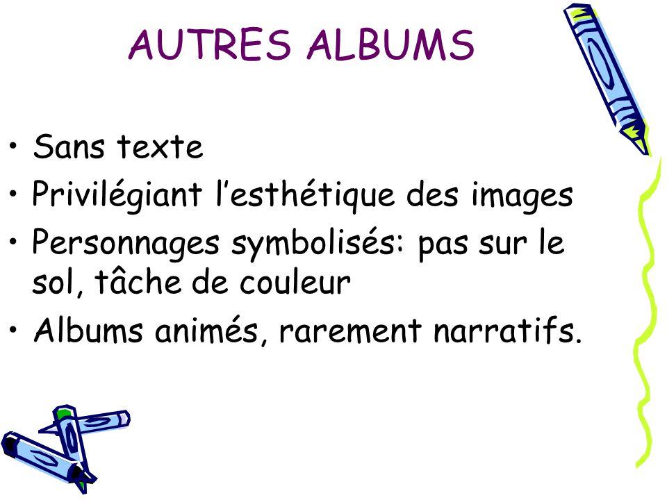 AUTRES ALBUMS Sans texte Privilégiant lesthétique des images Personnages symbolisés: pas sur le sol, tâche de couleur Albums animés, rarement narratif