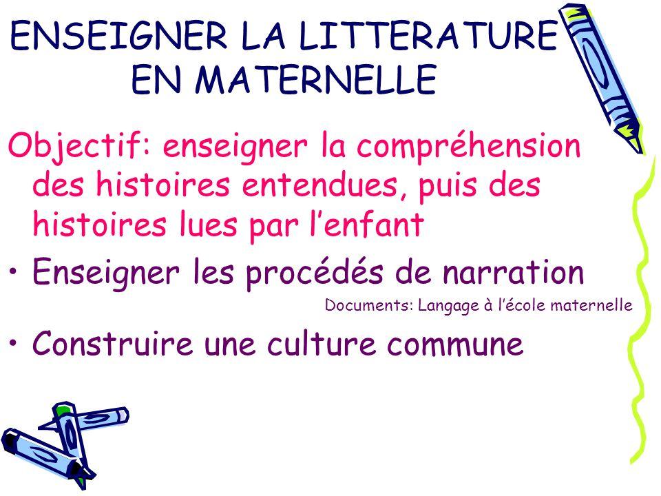 ENSEIGNER LA LITTERATURE EN MATERNELLE Objectif: enseigner la compréhension des histoires entendues, puis des histoires lues par lenfant Enseigner les