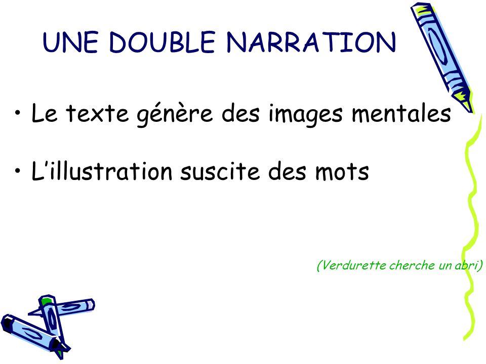 UNE DOUBLE NARRATION Le texte génère des images mentales Lillustration suscite des mots (Verdurette cherche un abri)