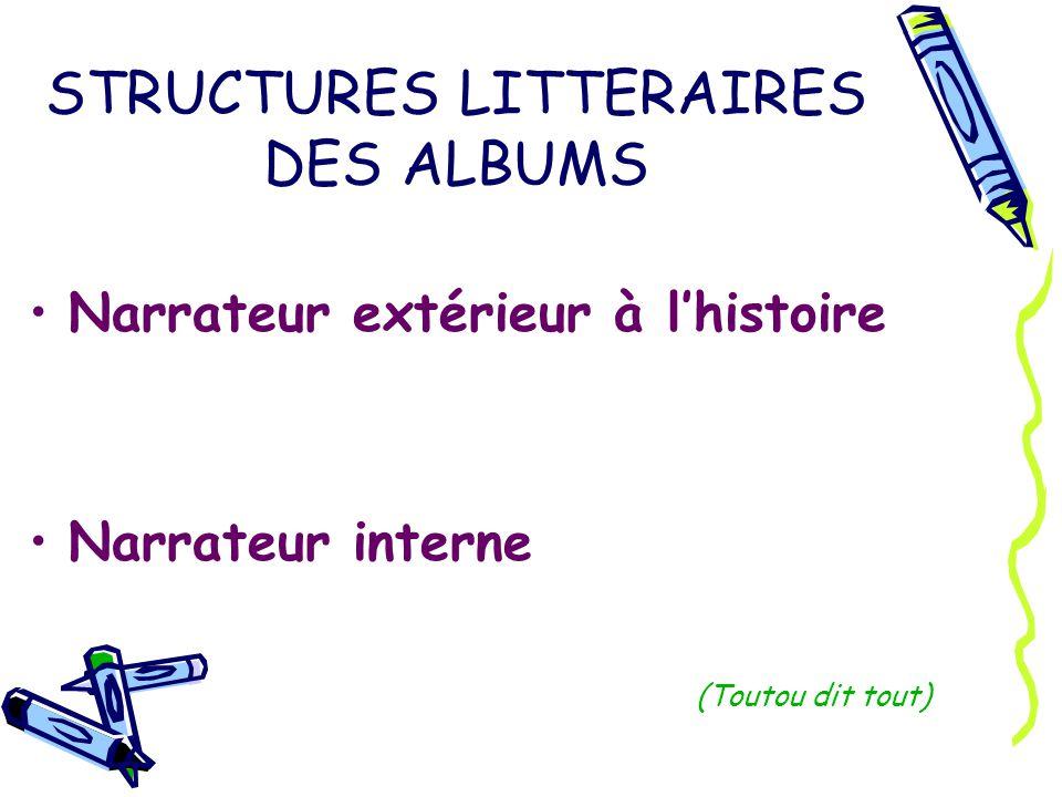 STRUCTURES LITTERAIRES DES ALBUMS Narrateur extérieur à lhistoire Narrateur interne (Toutou dit tout)