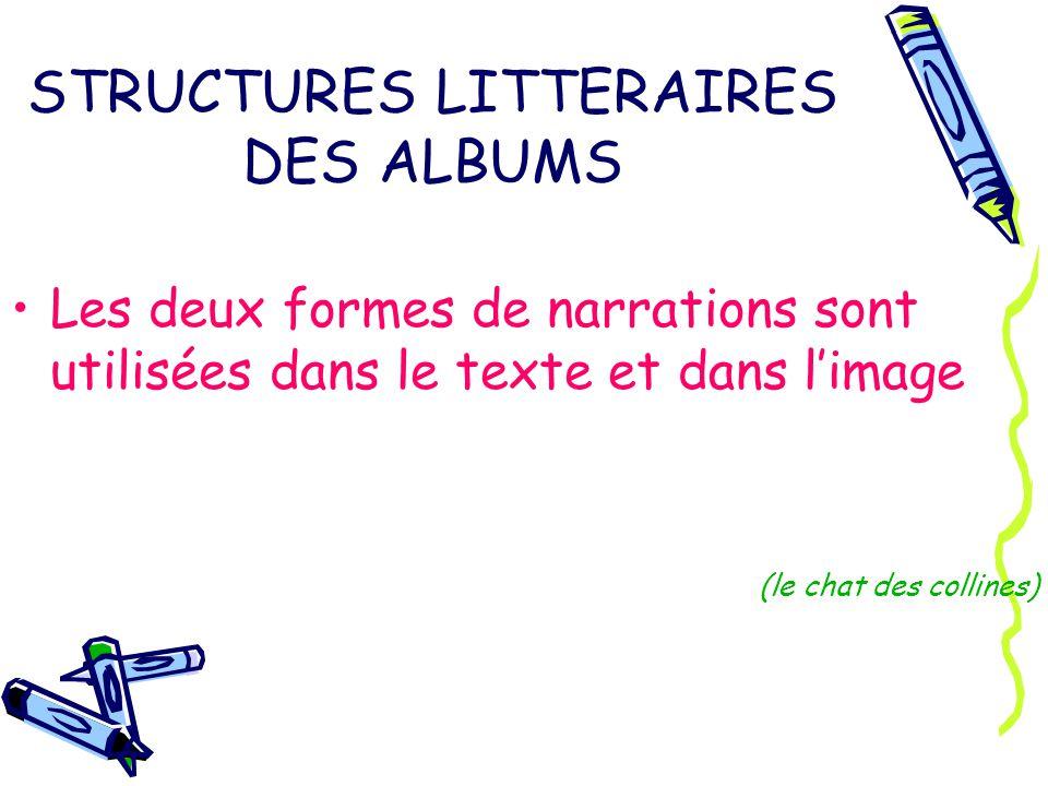 STRUCTURES LITTERAIRES DES ALBUMS Les deux formes de narrations sont utilisées dans le texte et dans limage (le chat des collines)