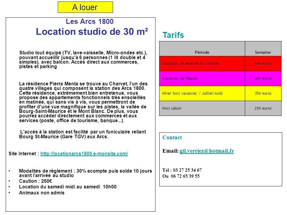 Les Arcs 1800 Location studio de 30 m² Studio tout équipé (TV, lave-vaisselle, Micro-ondes etc.), pouvant accueillir jusqu'à 6 personnes (1 lit double