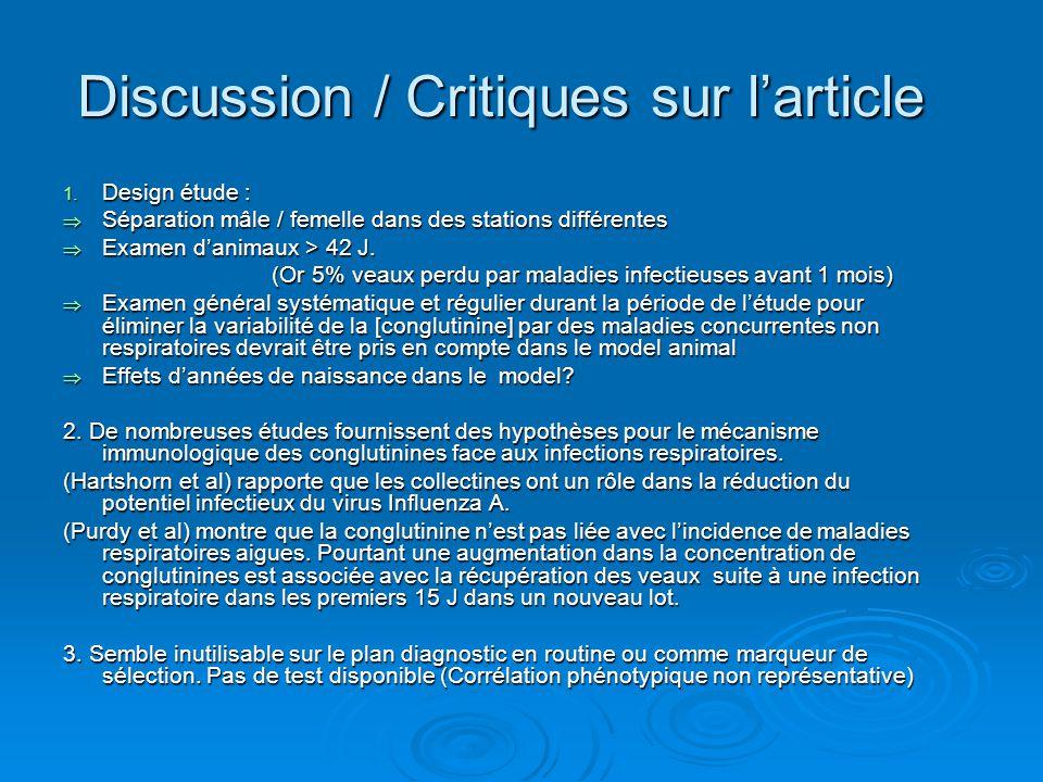 Discussion / Critiques sur larticle 1.