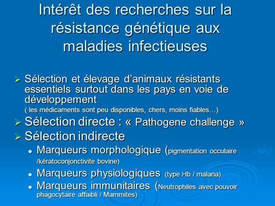 Intérêt des recherches sur la résistance génétique aux maladies infectieuses Sélection et élevage danimaux résistants essentiels surtout dans les pays en voie de développement Sélection et élevage danimaux résistants essentiels surtout dans les pays en voie de développement ( les médicaments sont peu disponibles, chers, moins fiables…) Sélection directe : « Pathogene challenge » Sélection directe : « Pathogene challenge » Sélection indirecte Sélection indirecte Marqueurs morphologique ( pigmentation occulaire /kératoconjonctivite bovine) Marqueurs morphologique ( pigmentation occulaire /kératoconjonctivite bovine) Marqueurs physiologiques (type Hb / malaria) Marqueurs physiologiques (type Hb / malaria) Marqueurs immunitaires ( Neutrophiles avec pouvoir phagocytaire affaibli / Mammites) Marqueurs immunitaires ( Neutrophiles avec pouvoir phagocytaire affaibli / Mammites)