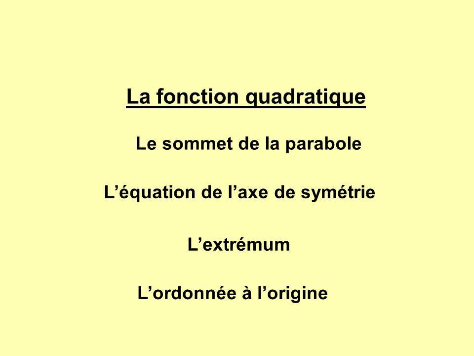 La fonction quadratique Le sommet de la parabole Léquation de laxe de symétrie Lextrémum Lordonnée à lorigine