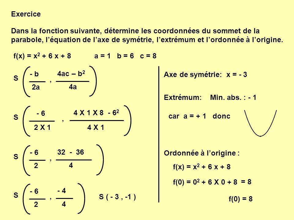 f(x) = x 2 + 6 x + 8 - b 2a 4a 4ac – b 2 S, Exercice - 6 2 X 14 X 1 4 X 1 X 8 - 6 2 S, a = 1 b = 6 c = 8 - 6 2 4 32 - 36 S, S ( - 3, -1 ) - 6 2 4 - 4