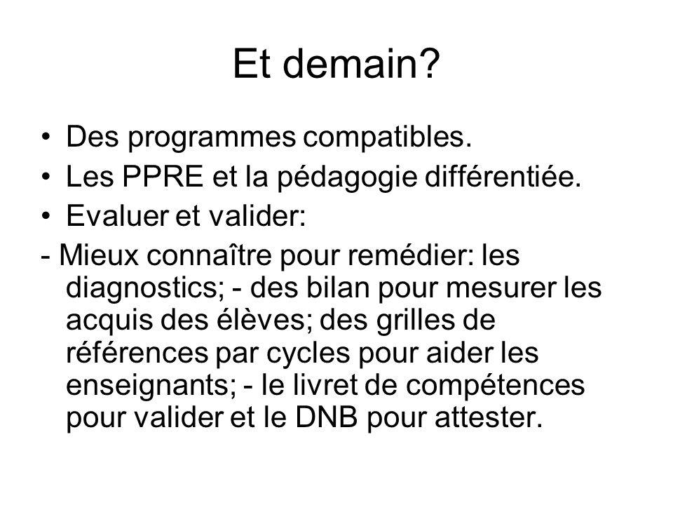Et demain. Des programmes compatibles. Les PPRE et la pédagogie différentiée.