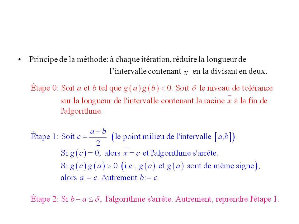 Principe de la méthode: à chaque itération, réduire la longueur de lintervalle contenant en la divisant en deux.