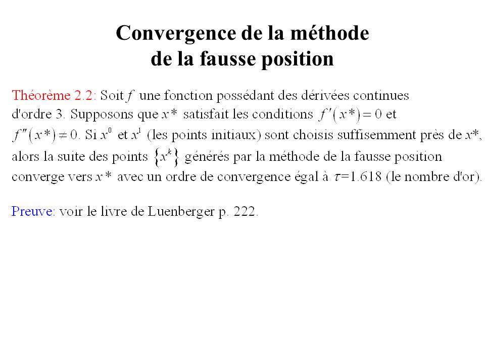 Convergence de la méthode de la fausse position