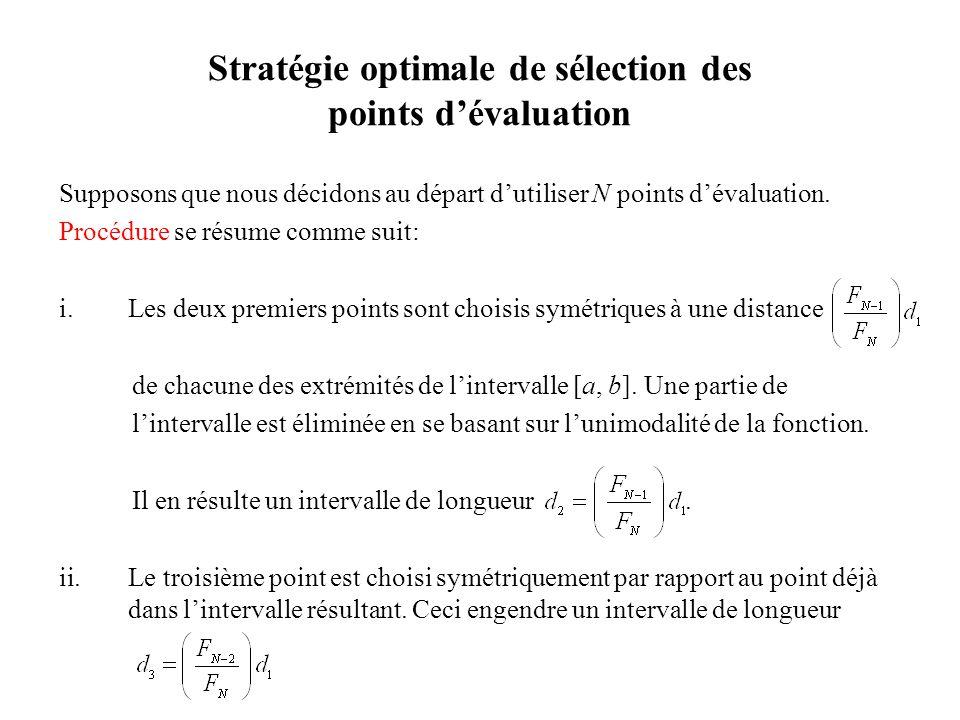 Stratégie optimale de sélection des points dévaluation Supposons que nous décidons au départ dutiliser N points dévaluation.