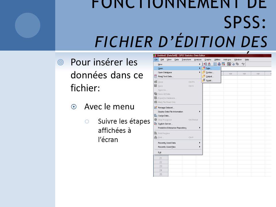 FONCTIONNEMENT DE SPSS: FICHIER DÉDITION DES DONNÉES Pour insérer les données dans ce fichier: Avec le menu Suivre les étapes affichées à lécran