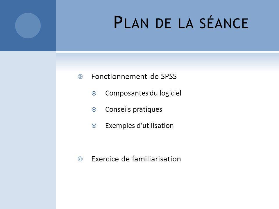 P LAN DE LA SÉANCE Fonctionnement de SPSS Composantes du logiciel Conseils pratiques Exemples dutilisation Exercice de familiarisation