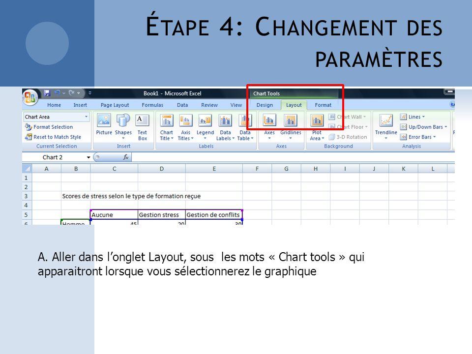 É TAPE 4: C HANGEMENT DES PARAMÈTRES A. Aller dans longlet Layout, sous les mots « Chart tools » qui apparaitront lorsque vous sélectionnerez le graph
