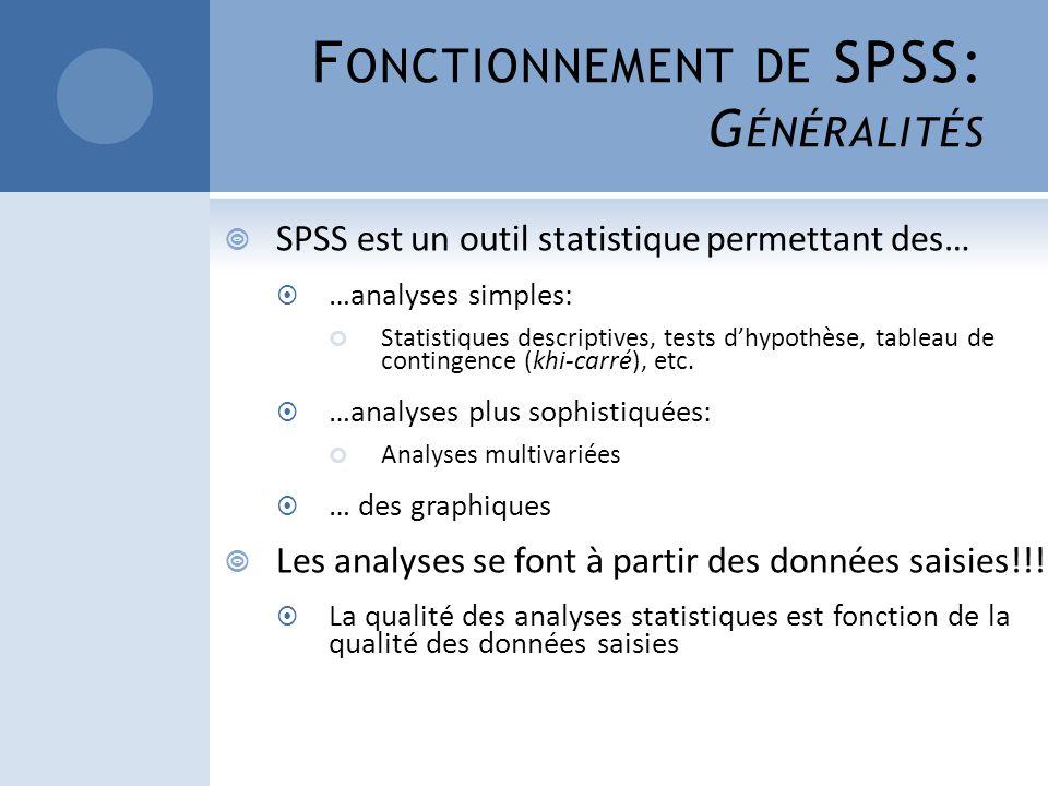 F ONCTIONNEMENT DE SPSS: G ÉNÉRALITÉS SPSS est un outil statistique permettant des… …analyses simples: Statistiques descriptives, tests dhypothèse, ta