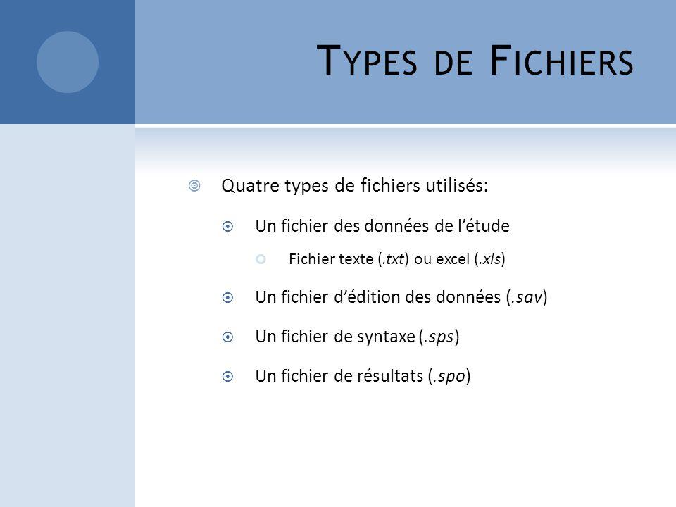 T YPES DE F ICHIERS Quatre types de fichiers utilisés: Un fichier des données de létude Fichier texte (.txt) ou excel (.xls) Un fichier dédition des d