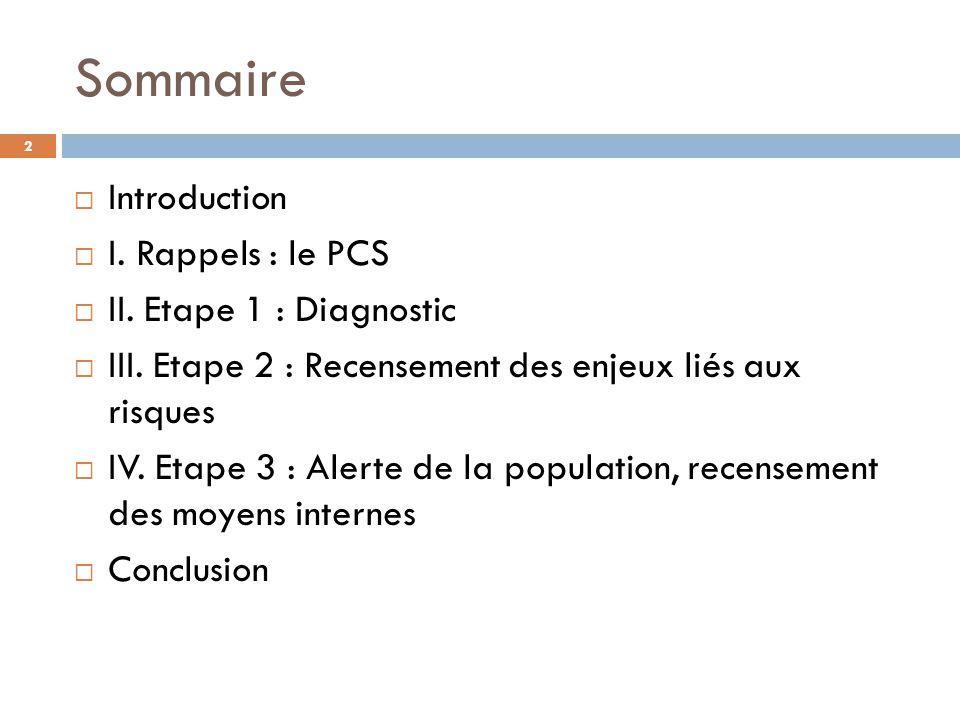 Sommaire Introduction I. Rappels : le PCS II. Etape 1 : Diagnostic III. Etape 2 : Recensement des enjeux liés aux risques IV. Etape 3 : Alerte de la p