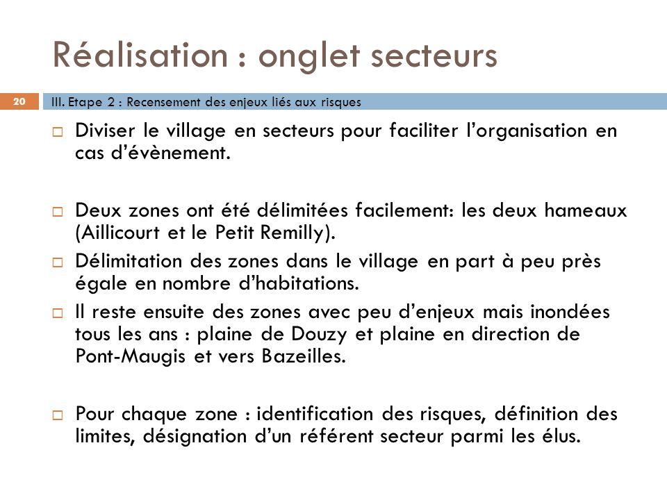 Réalisation : onglet secteurs 20 Diviser le village en secteurs pour faciliter lorganisation en cas dévènement. Deux zones ont été délimitées facileme