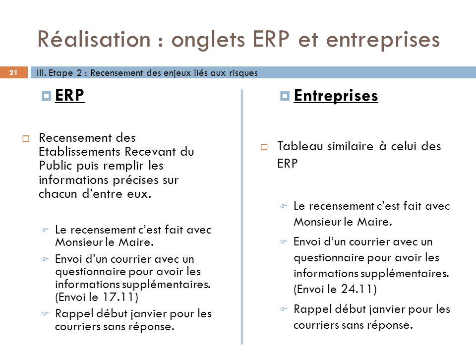 Réalisation : onglets ERP et entreprises 21 ERP Recensement des Etablissements Recevant du Public puis remplir les informations précises sur chacun de