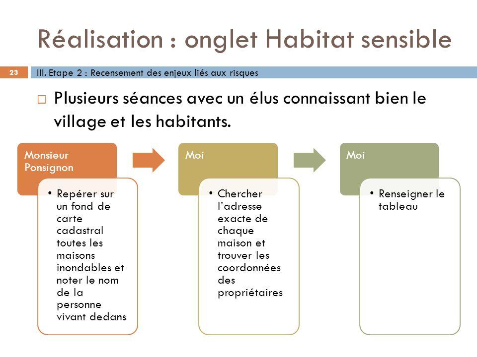 Réalisation : onglet Habitat sensible 23 Plusieurs séances avec un élus connaissant bien le village et les habitants. III. Etape 2 : Recensement des e