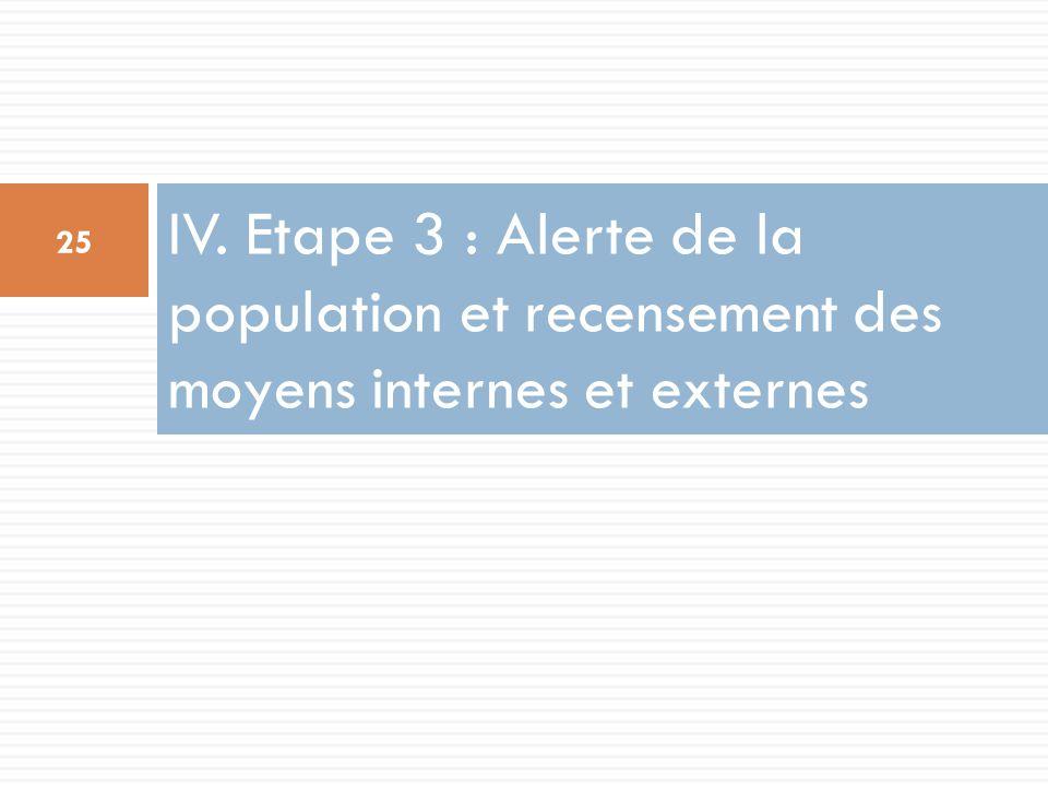 IV. Etape 3 : Alerte de la population et recensement des moyens internes et externes 25