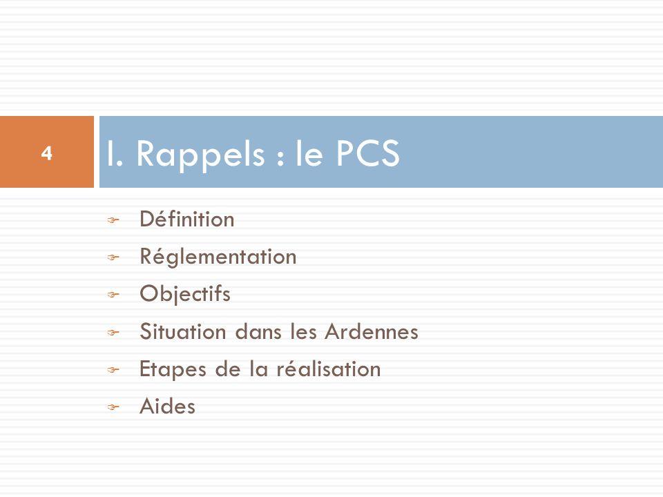 Définition Réglementation Objectifs Situation dans les Ardennes Etapes de la réalisation Aides I. Rappels : le PCS 4