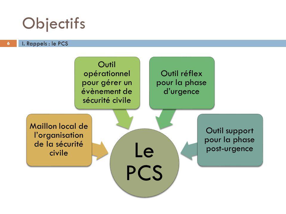 Objectifs 6 Le PCS Maillon local de lorganisation de la sécurité civile Outil opérationnel pour gérer un évènement de sécurité civile Outil réflex pou