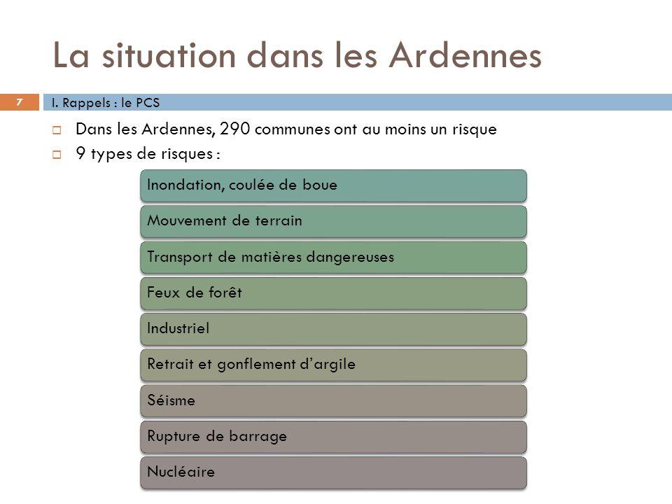 La situation dans les Ardennes 7 Dans les Ardennes, 290 communes ont au moins un risque 9 types de risques : I. Rappels : le PCS Inondation, coulée de