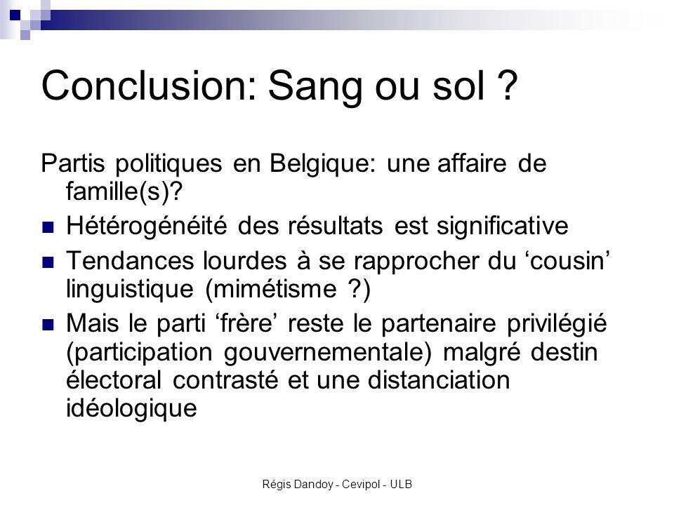 Régis Dandoy - Cevipol - ULB Conclusion: Sang ou sol .