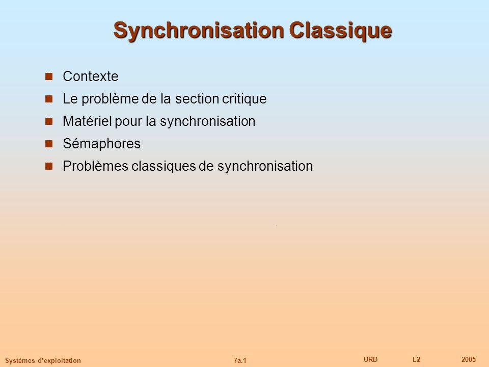 7a.1 URDL22005 Systèmes dexploitation Synchronisation Classique Contexte Le problème de la section critique Matériel pour la synchronisation Sémaphore