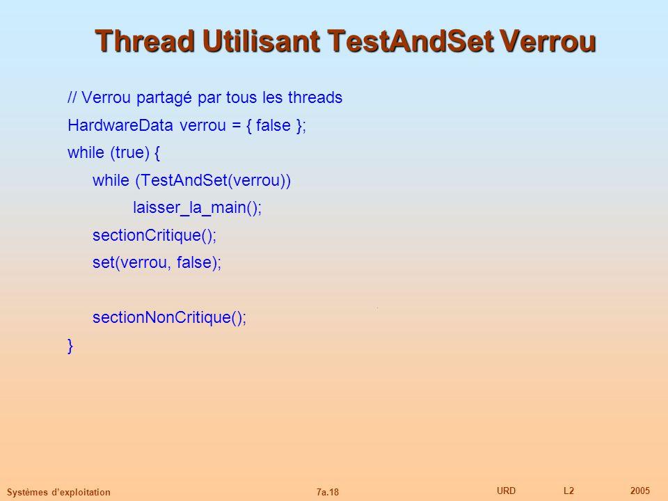 7a.18 URDL22005 Systèmes dexploitation Thread Utilisant TestAndSet Verrou // Verrou partagé par tous les threads HardwareData verrou = { false }; whil