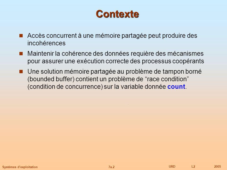 7a.2 URDL22005 Systèmes dexploitation Contexte Accès concurrent à une mémoire partagée peut produire des incohérences Maintenir la cohérence des donné