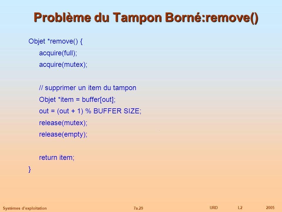 7a.29 URDL22005 Systèmes dexploitation Problème du Tampon Borné:remove() Objet *remove() { acquire(full); acquire(mutex); // supprimer un item du tamp