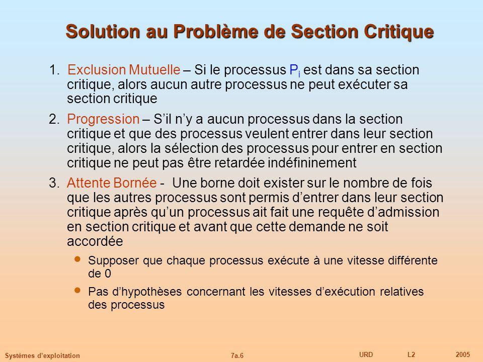 7a.6 URDL22005 Systèmes dexploitation Solution au Problème de Section Critique 1. Exclusion Mutuelle – Si le processus P i est dans sa section critiqu