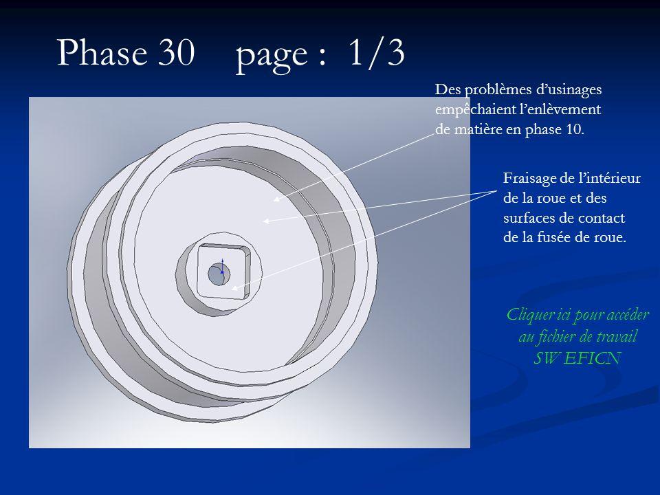 Phase 30 page : 1/3 Fraisage de lintérieur de la roue et des surfaces de contact de la fusée de roue. Cliquer ici pour accéder au fichier de travail S