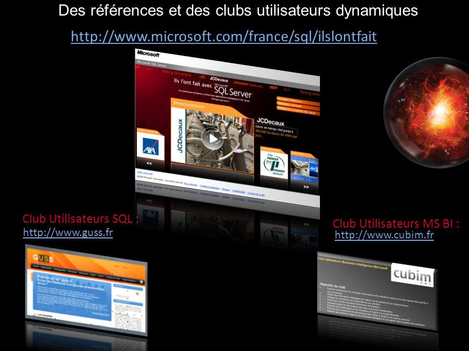 Des références et des clubs utilisateurs dynamiques Club Utilisateurs SQL : http://www.guss.fr Club Utilisateurs MS BI : http://www.cubim.fr http://ww