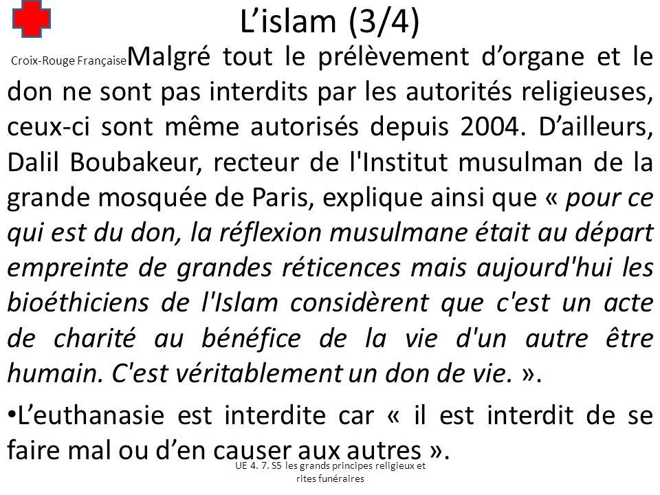 Lislam (4/4) Le mourant est assisté par ses proches pour fortifier sa foi et laider à ne pas perdre espoir.