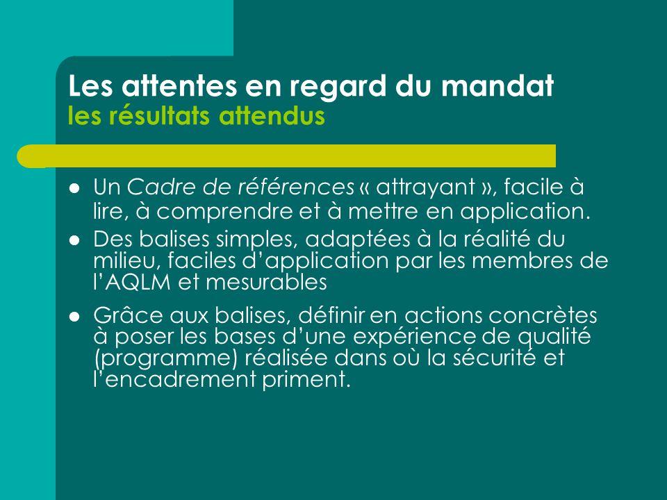 Les attentes en regard du mandat les résultats attendus Un Cadre de références « attrayant », facile à lire, à comprendre et à mettre en application.