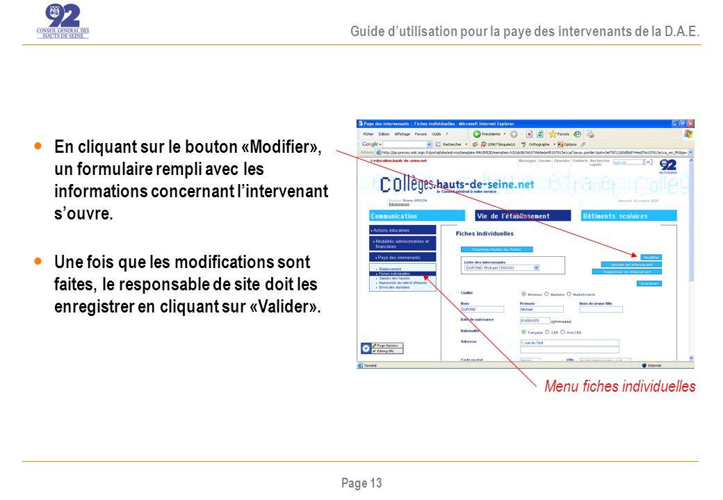 Page 13 Guide dutilisation pour la paye des intervenants de la D.A.E.
