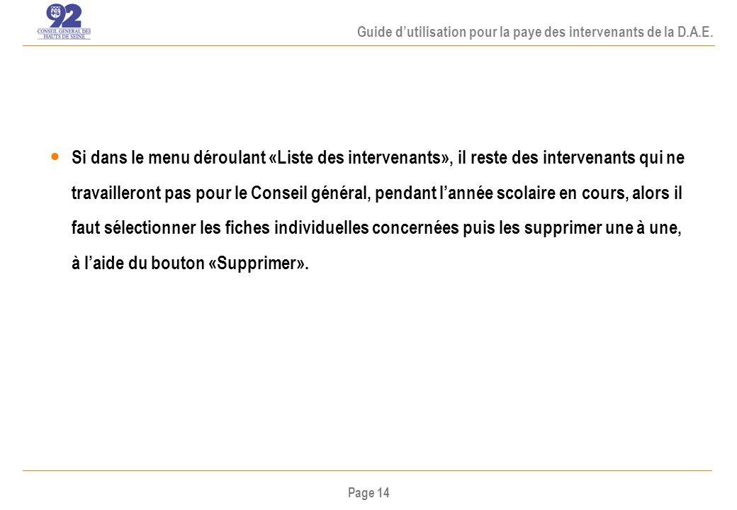 Page 14 Guide dutilisation pour la paye des intervenants de la D.A.E.