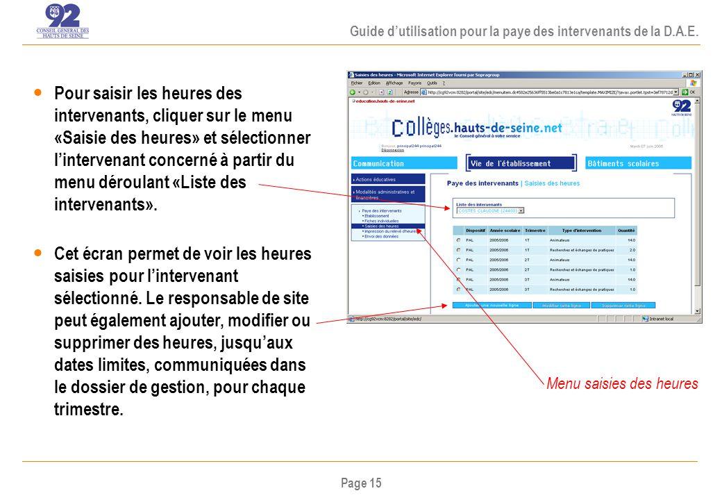 Page 15 Guide dutilisation pour la paye des intervenants de la D.A.E.