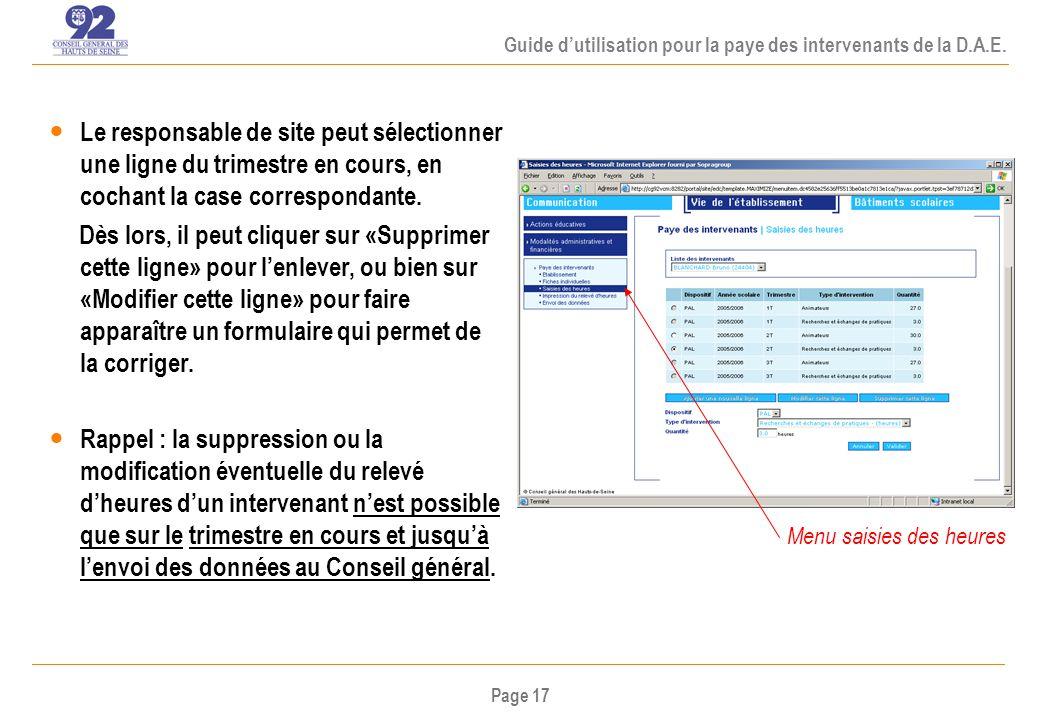 Page 17 Guide dutilisation pour la paye des intervenants de la D.A.E.